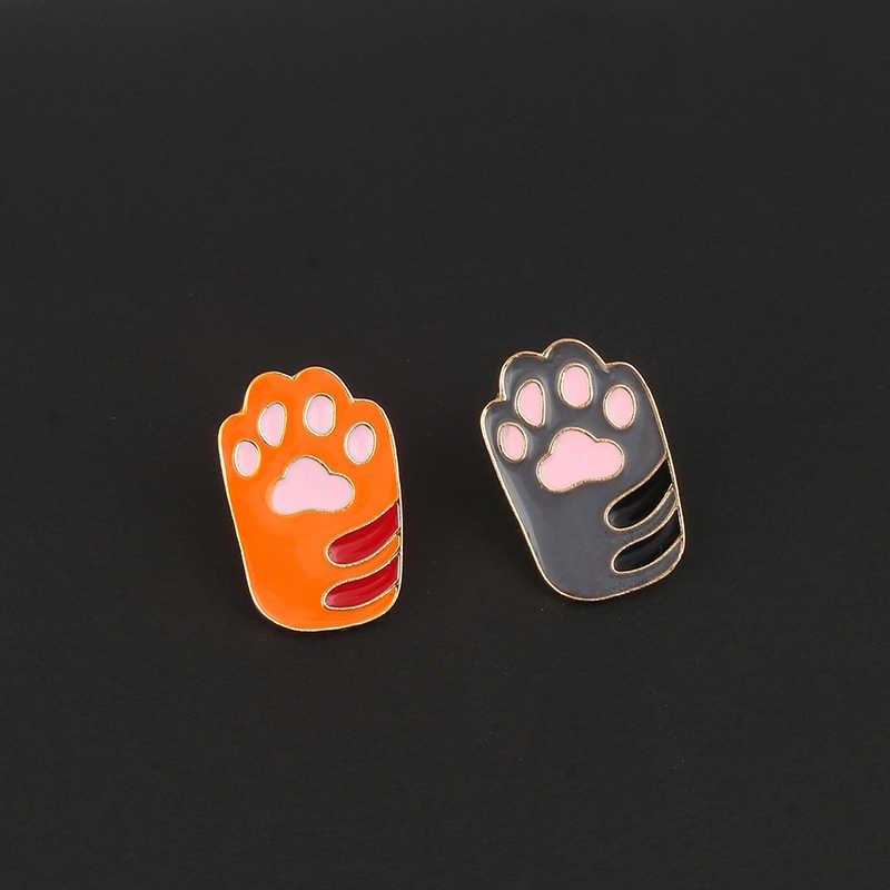 만화 동물 귀여운 강아지 발 인쇄 브로치 kawaii 소녀 개 클로 재킷 옷깃 핀 카우걸 스웨터 스커트 배낭 쥬얼리 버튼