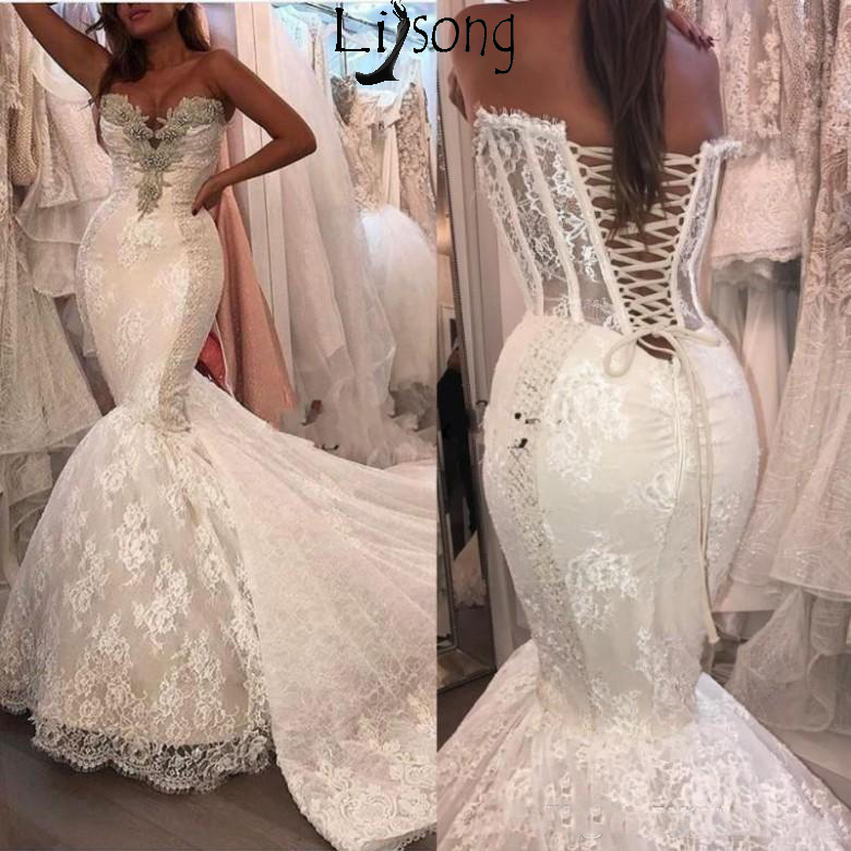 Sexy Mermaid Wedding Dresses Lace Appliques Crystal Beaded Mermaid Wedding Dress Tulle Chapel Train Bridal Gowns Custom Made