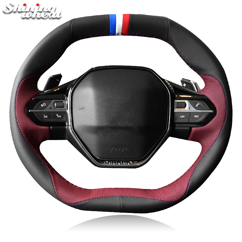 BANNIS Black Chocolate Leather Car Steering Wheel Cover for Peugeot 4008 2017 2018 3008 2017 2018