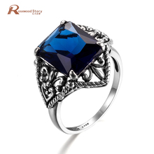 September Birthstone Ring Statement Arty Knuckle Armour Finger Square Dark Blue Crystal 925 Sterling Silver Cocktail Ring