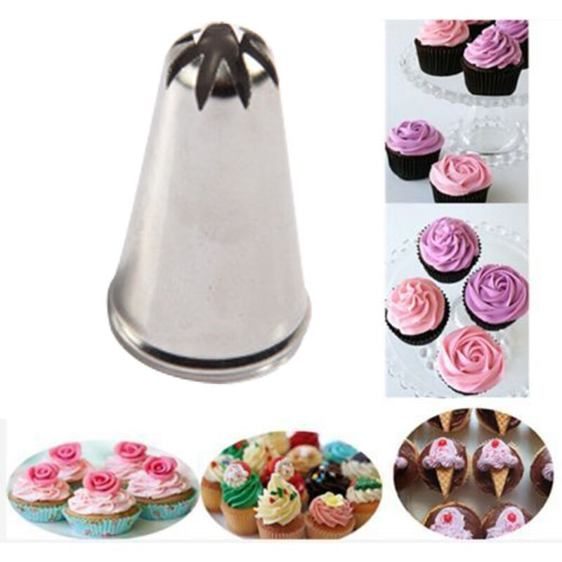 1pc Drop Rose Flower Cup Ice Cream Piping Tip Nozzle Cake