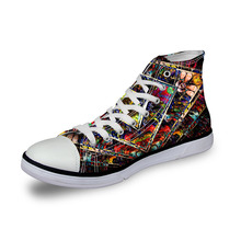 Noisydesigns ladies vintage high top sneakers girls casual vulcanized Women Symmetrical pattern cool 3D print flat canvas shoes