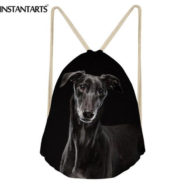 040884da91b INSTANTARTS Gym Sack Men Drawstring Bag 3D Cute Animel Dark Black Dog Grey  Italian Greyhound Print Travel Softback Backpack 2018