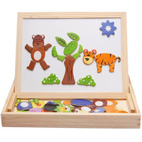 3D Animal Wooden Puzzles For Children Magnetic Block Kids Puzzle Multifunctional Jigsaw Drawing Board Learning Educational Toys