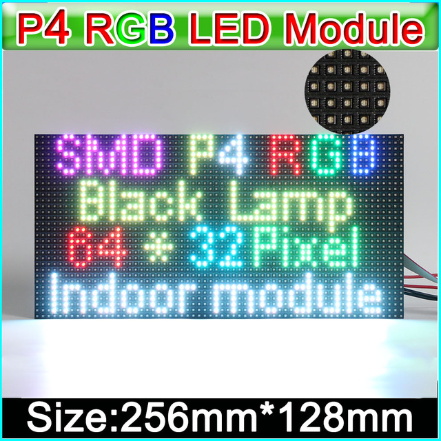 2019 NEW RGB P4  LED displays module, SMD 3 in 1 RGB P4 Indoor full color led panel, 256mm*128mm 64*32dots,
