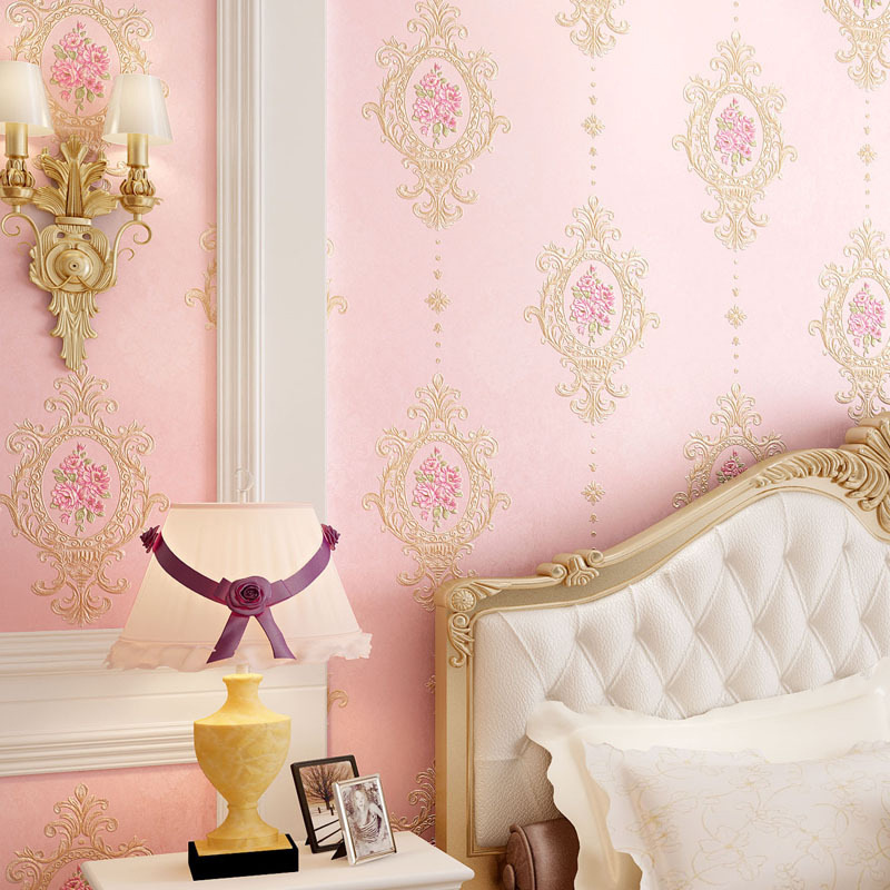 3D Embossed Fine Floral European Wallpaper Thick Non-woven Garden Flowers Warm Pink Home Decor Ab Version DIY Bedroom
