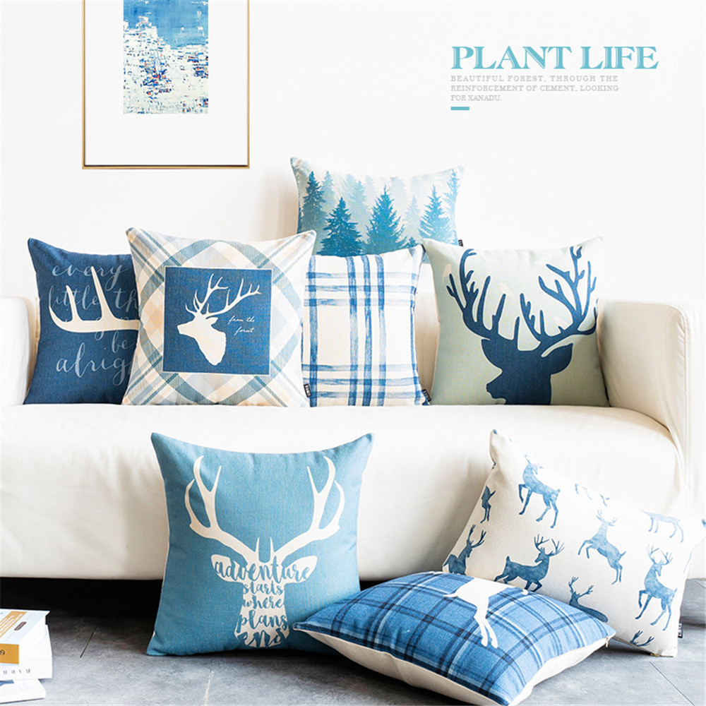Enjoyable Us 2 86 42 Off Blue Cotton Linen Throw Pillow Cushion Cover Case Merrry Christmas Holidays Deer Geometric Geometry Lumbar Pillow For Sofa Home In Evergreenethics Interior Chair Design Evergreenethicsorg