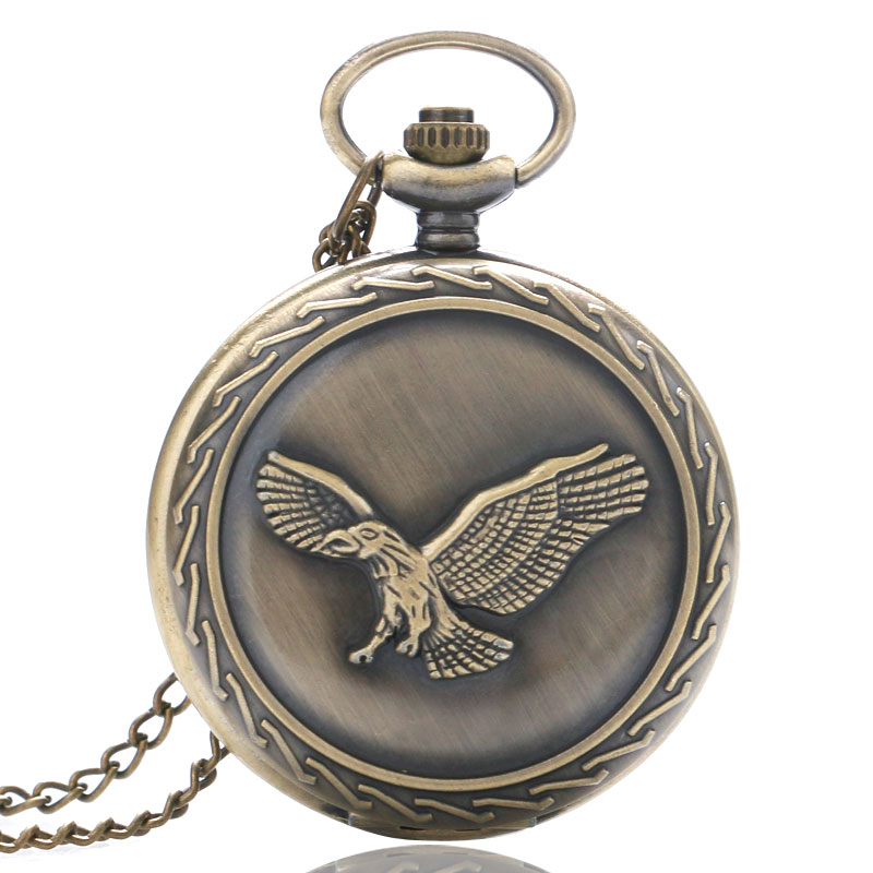 Vintage Bronze Eagle Quartz Pocket Watch Necklace Pendant Men Women Gifts P221