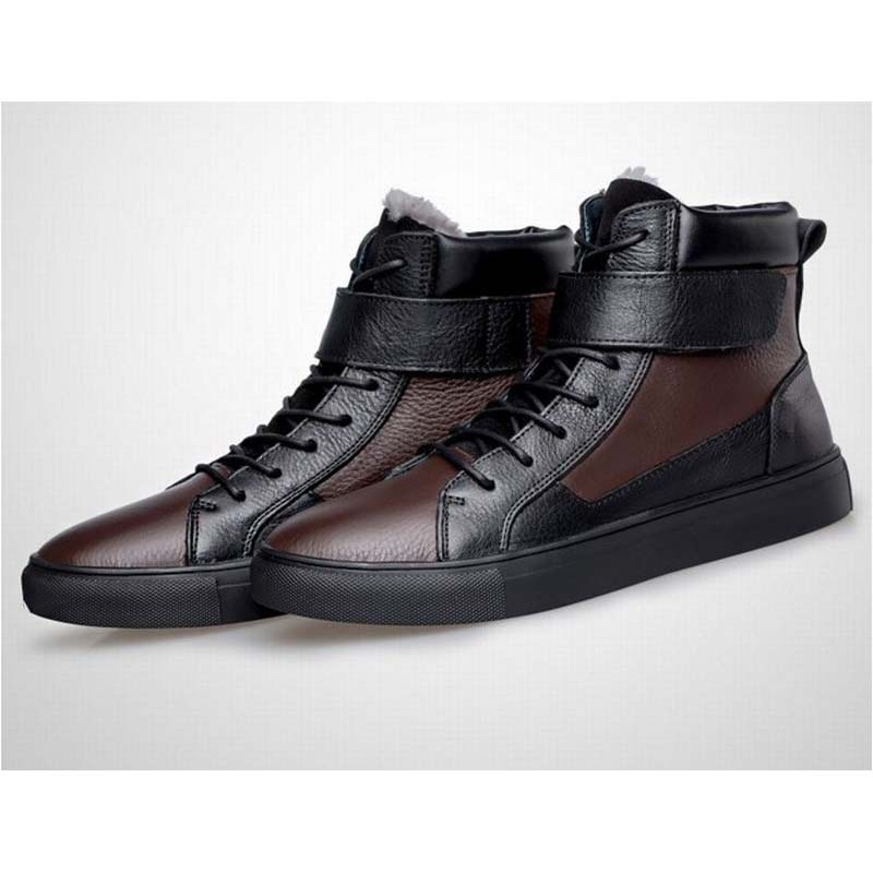 Big Size 38-48 Fashion Men's Martin Boots British Style Patchwork Boots Shoes Men Genuine Leather Lace Up High Top Ankle Boots fashion british style men s genuine matte leather boot shoes casual lace up male martin ankle chunky booties homme s4472