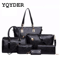 Brands High Quality Crocodile Pattern PU Leather Women Tote Shoulder Messenger Clutch Composite Bags 6 Pieces