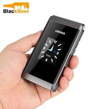 UNIWA X28 رجل يبلغ من العمر الوجه الهاتف GSM كبير الضغط على زر الوجه الهاتف المحمول المزدوج سيم راديو FM لوحة مفاتيح روسية الهاتف المحمول هواتف بأزرار كبيرة