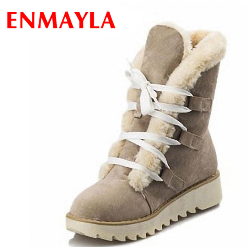 ENMAYLA Fashion Warm Thick Fur Lace-up Winter Shoes Woman Round Toe Platform Skidproof Sole Ankle Boots Women Snow Boots