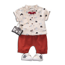 Boys suit 2019 summer new style childrens short-sleeved babys fashionable shirts, two-piece,1-3-4 years old