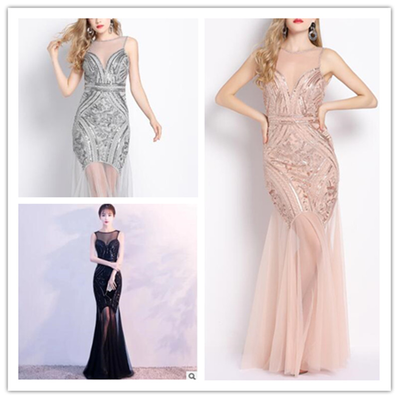 Beading Floor-length Tank 1920s Great Gatsby Flapper Dress Sheer Long Maxi Formal Party Dress Vestido Beaded Sequin Dress