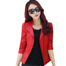New 2019 Spring Autumn PU Leather Jacket Women Soft Faux Coats Short Slim Motorcycle Jackets Plus Size Outerwear NO808