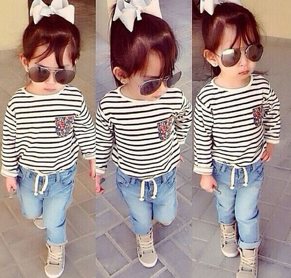 2Pcs Girls clothing sets baby cotton Striped t shirt + jeans pants Suit Spring Autumn outfits vestidos for 2 3 4 5 6 7 Years summer baby boy clothing set jeans pants white gray t shirt children clothes 3 pieces sets for boys suit outfits 1 2 3 4 5 6 y