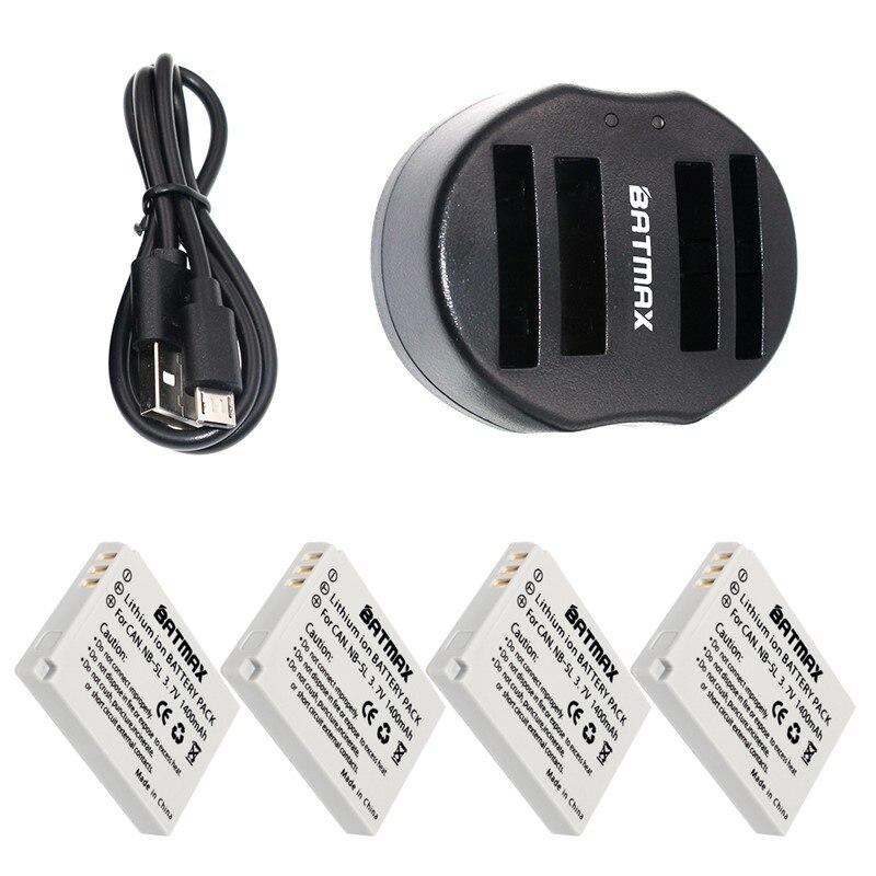 4-Pack NB-5L NB 5L NB5L Bateria & Carregador Duplo USB com Cabo para Canon S110 SX210 SX200 SX220 HS SX230 IS IXUS 850 870 800 860
