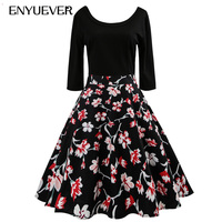 Enyuever Robe Pin Up Vintage Dress Women 2019 Half Sleeve Swing Black Patchwork Floral Print Party Jurken Vestido Casual Dress