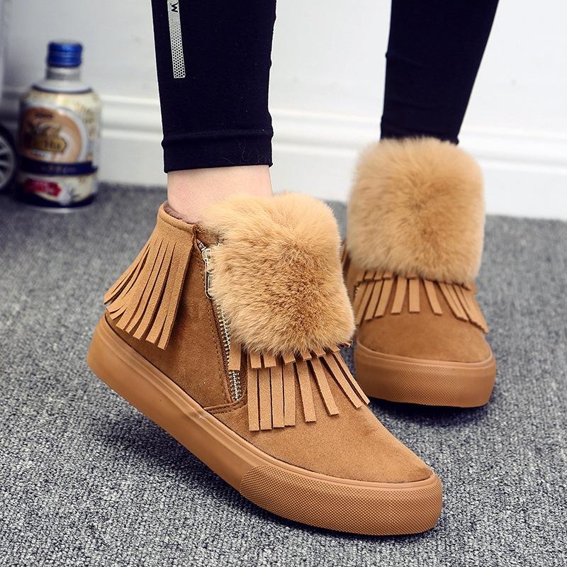 Tassel Snow Boots Suede Fringe Boots Leather Ankle Women Winter Warm Plush Fur Solid Flock Brand Casual Shoes Female Side Zipper new winter autumn brand luxury women shoes flats suede leather warm snow casual zapatillas mujer plush timber shoes for lady
