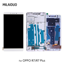 LCD Display For OPPO R7 5'' Touch Screen Digitizer LCD Display For OPPO R7 Plus R7P 6'' with Frame Assembly Replacement Parts