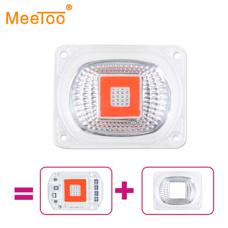 Полный спектр бескорпусной чип светодиодный свет лампы Чип + объектив отражатель 50 Вт 30 Вт 20 Вт 220 В 110 в рост светодиодный чип для растений парник, теплица для выращивания