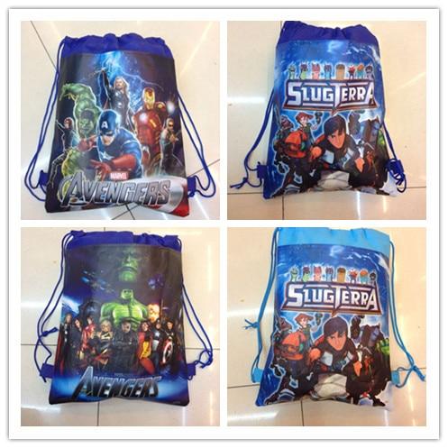 12Pcs Hot The Avengers Drawstring Boys Girls Cartoon School Bag Children Printing School Backpacks Gifts for Birthday