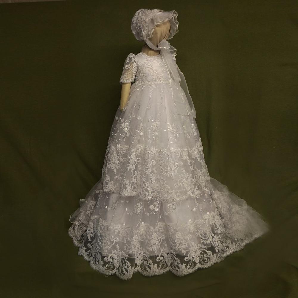 Avec chapeau bébé fille robes de baptême blanc et ivoire manches courtes formelle manches bouffantes a-ligne dentelle fille bébé robes d'anniversaire