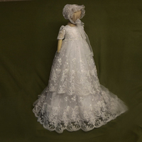 With Hat Baby Girl Christening Gowns White and Ivory Short Sleeves Formal Puff Sleeves A line Lace Girl Baby Birthday Dresses