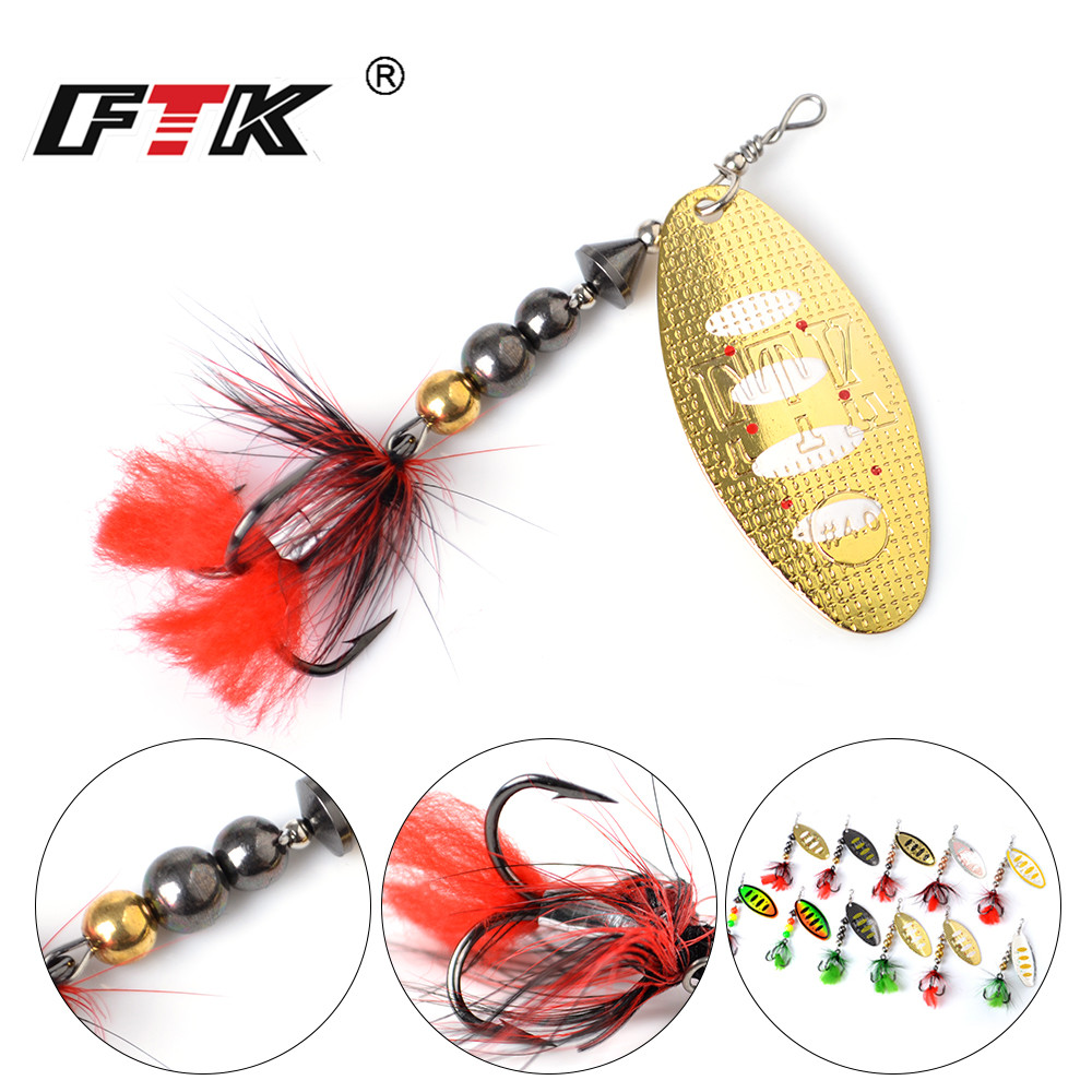 FTK 1pcs Mepps Spinner Bait 8g/14g/20g Metal Fishing Lure Hard Bait Spoon Lures with Feather Treble Hooks Carp Fishing Tackle meredith fishing rattlesnake lures 1pcs 20g 7 5cm vib lures fishing vibration for all water levels wobblers hooks carp fishing