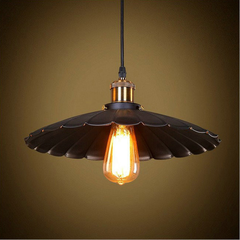 Dia 25CM Vintage American Iron Black Umbrella Pendant Lights Loft Industrial Retro Restaurant Bar Counter E27 E26 Hanging Lamp