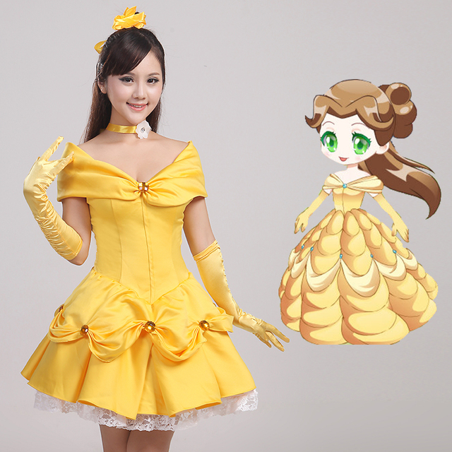 Beauty And The Beast Cosplay Costumes Princess Belle Yellow Dress Halloween Party Wedding Bride