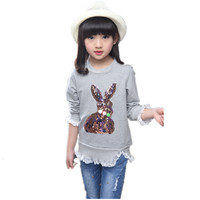 Lace Children Girl T Shirts Sequins Baby Girl Clothes Cotton Kids Clothing Design Long Sleeve T