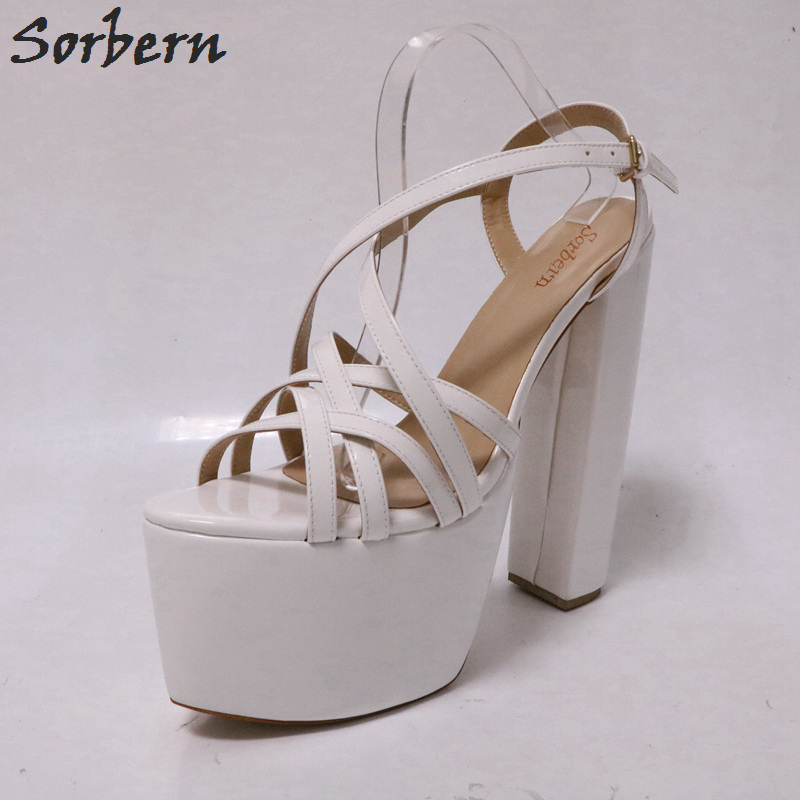 Белый Лакированная кожа Индивидуальные широкий женские босоножки на толстой платформе не сужающийся к низу каблук с открытым носком босоножки zapatos mujer заказ