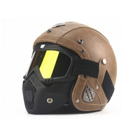 Free shipping 1pcs Hot Leather Motocross Helmet Capacete Open Face Half Motorcycle Helmets with goggle mask
