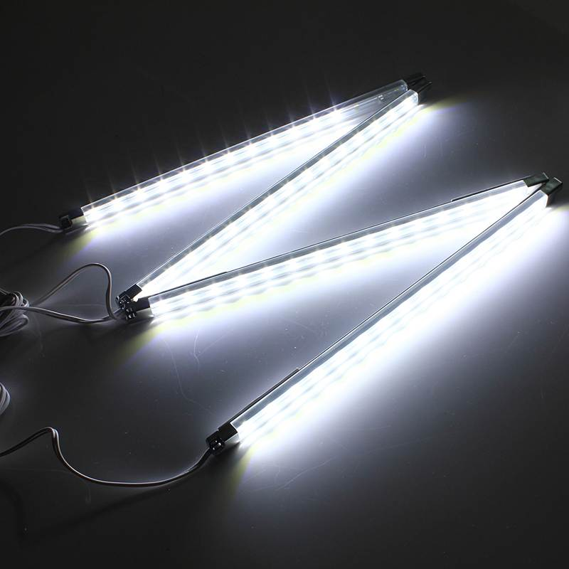 Top Quality 4pcs Kitchen Under Cabinet Counter Energy Saving LED Hard Rigid Strip Light Bar Kit White Warm White 110V-240V 4pcs led light bulb 4w smd 48led energy saving lights lamp bulb home kitchen under cabinet lighting pure warm white 110 240v