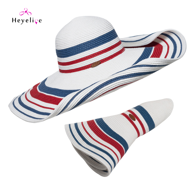 9d3871e20a1 Vintage Striped Summer Sun Hats Women Big Brim Fashion Beach Straw Hat  Romantic Lady Cap High Quality New Holiday Sun Hats-in Sun Hats from  Apparel ...