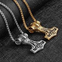 LINSOIR 2017 Retro Stainless Steel Viking Necklace For Men Punk Rock Mjolnir Necklaces Pendants Jewelry Collier