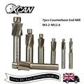 XCAN 7 pcs HSS Verzinkboor End Mill M3.2-M12.4 Pilot Steken Tool Frees Verzinkboor End Mills