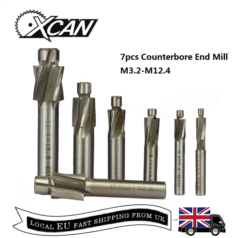 XCAN 7pcs HSS Counterbore End Mill M3.2-M12.4 Pilot Slotting Tool Milling Cutter Countersink End Mills