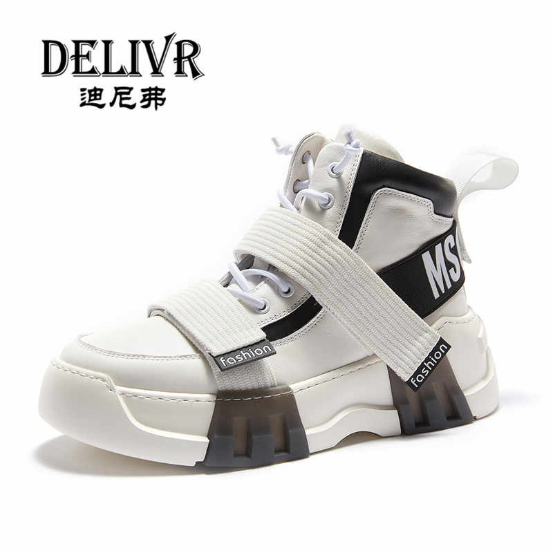 Delivr New High Top Sneakers Men 2019 Spring Cow Genuine Leather Designer Shoes  Man Trendy Vulcanized c04ef53072ad