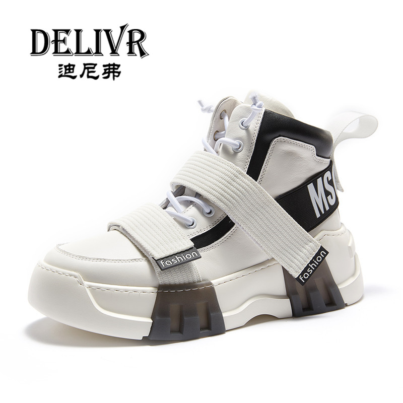 Delivr New High Top Sneakers Men 2019 Spring Cow Genuine Leather Designer Shoes Man Trendy Vulcanized Shoes Zapatos De Hombre
