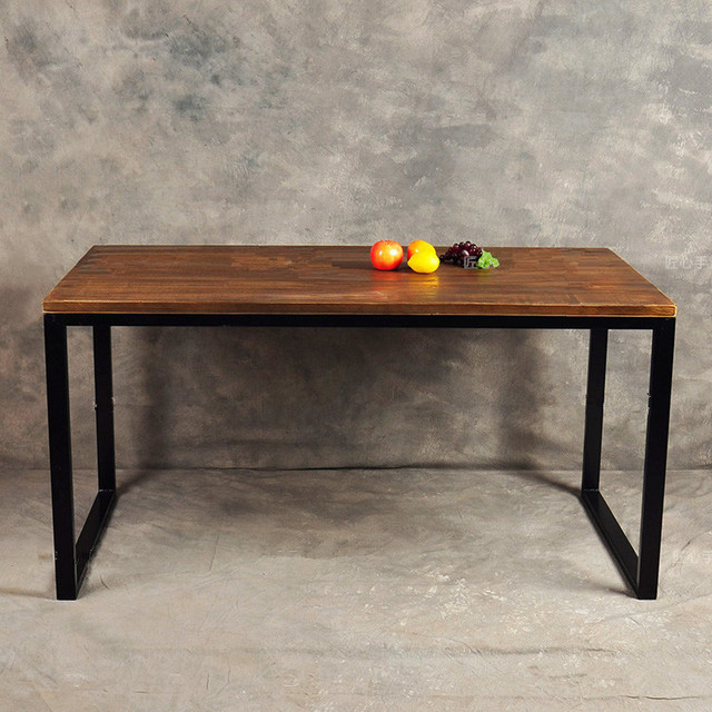 loft industrial wind retro simple wood desk staff american iron rh aliexpress com simple wood desk plans simple wood desk designs