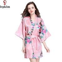 מותג סגול שמלת קימונו פרחוני מודפס נשי שמלת משי בסגנון הסיני פרח כתונת לילה חלוק סאטן בתוספת גודל Sml XL XXL SY131