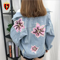RICHARDROGER Autumn Harajuku boyfriend Denim Jackets women autumn Delicate flower embroidery Casual coat 2018 Vintage blue coats