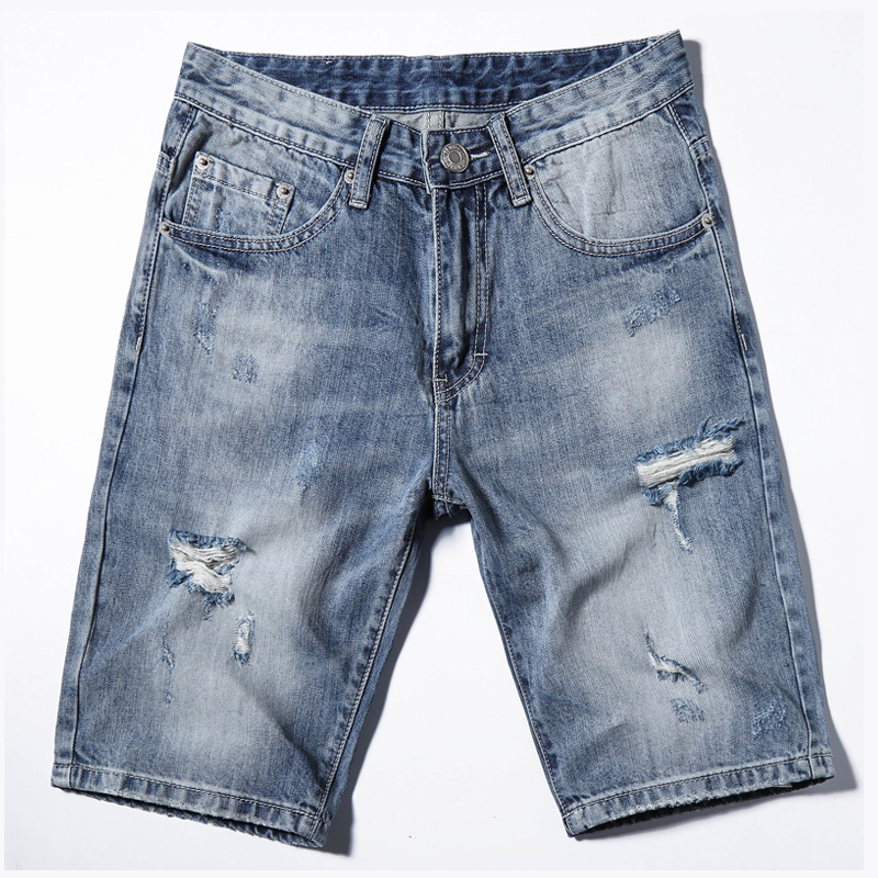 Denim Shorts Sky-Blue Jeans Casual-Hole Men's New-Style Fashion Summer Brand Male Ripped