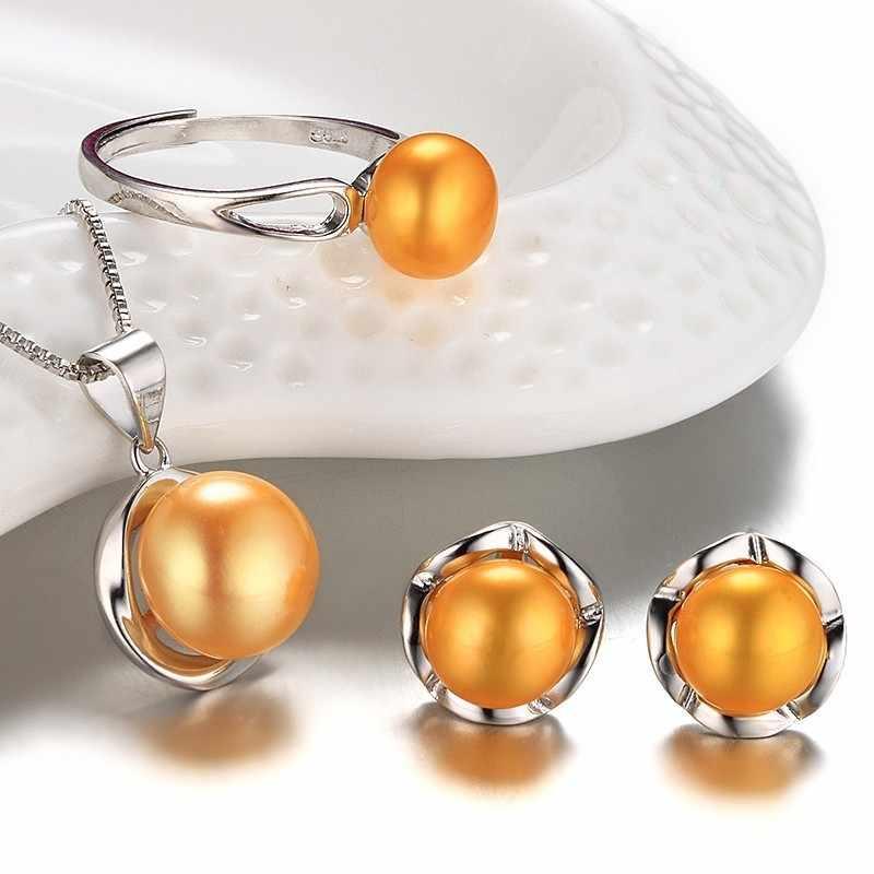 2019 חדש טבעי פרל תכשיטי סט תליון שרשרת & עגיל & טבעת סט עבור נשים 925 כסף תכשיטי 5 צבעים אריזת מתנה