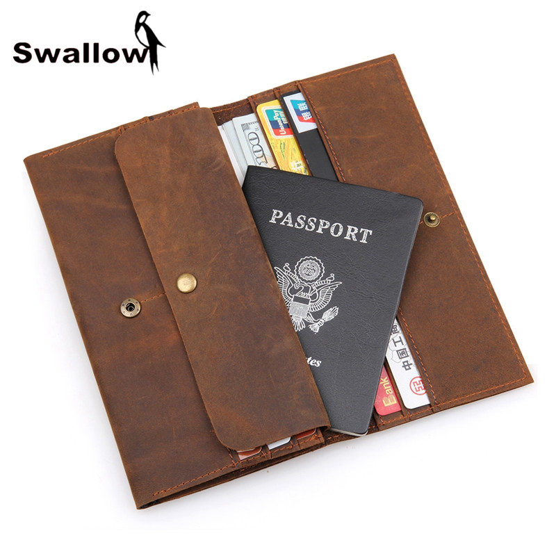 SWALLOW 100% Crazy Horse Leather Men Wallets Brand Genuine Leather Coin Purse Long With 10 Card Holder Passport Phone Pocket цена и фото