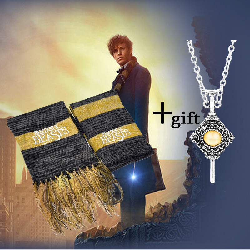Fantastic Beasts And Where To Find Them Scarf Newt Scamander Cosplay Costume Accessory Winter Keep Warm Knitted Bib Wrap Gift