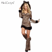 Sexy Halloween Leopard Costume For Women Animal Cat Cosplay Long Sleeves Hoodied Dress Performance Party Clubnight