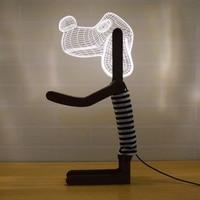 Инновации бытовая техника 3D черная собака Форма белый светодио дный стол настольная лампа регулируемый источник света